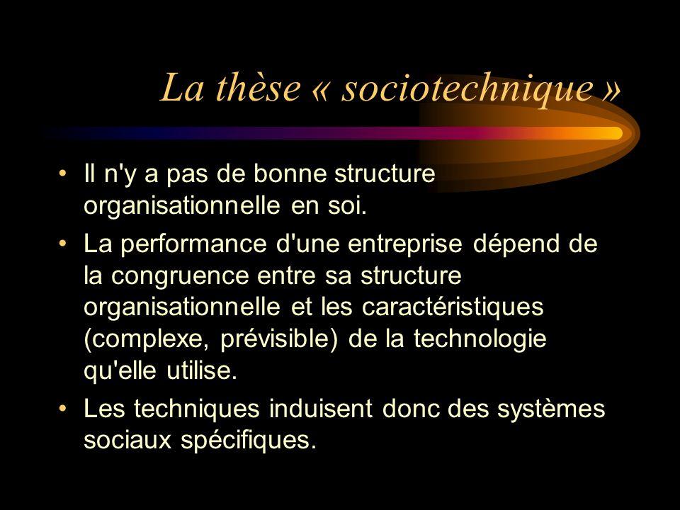 La thèse « sociotechnique » Il n'y a pas de bonne structure organisationnelle en soi. La performance d'une entreprise dépend de la congruence entre sa