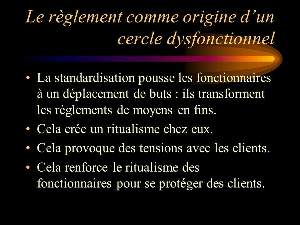 Le règlement comme origine dun cercle dysfonctionnel La standardisation pousse les fonctionnaires à un déplacement de buts : ils transforment les règlements de moyens en fins.