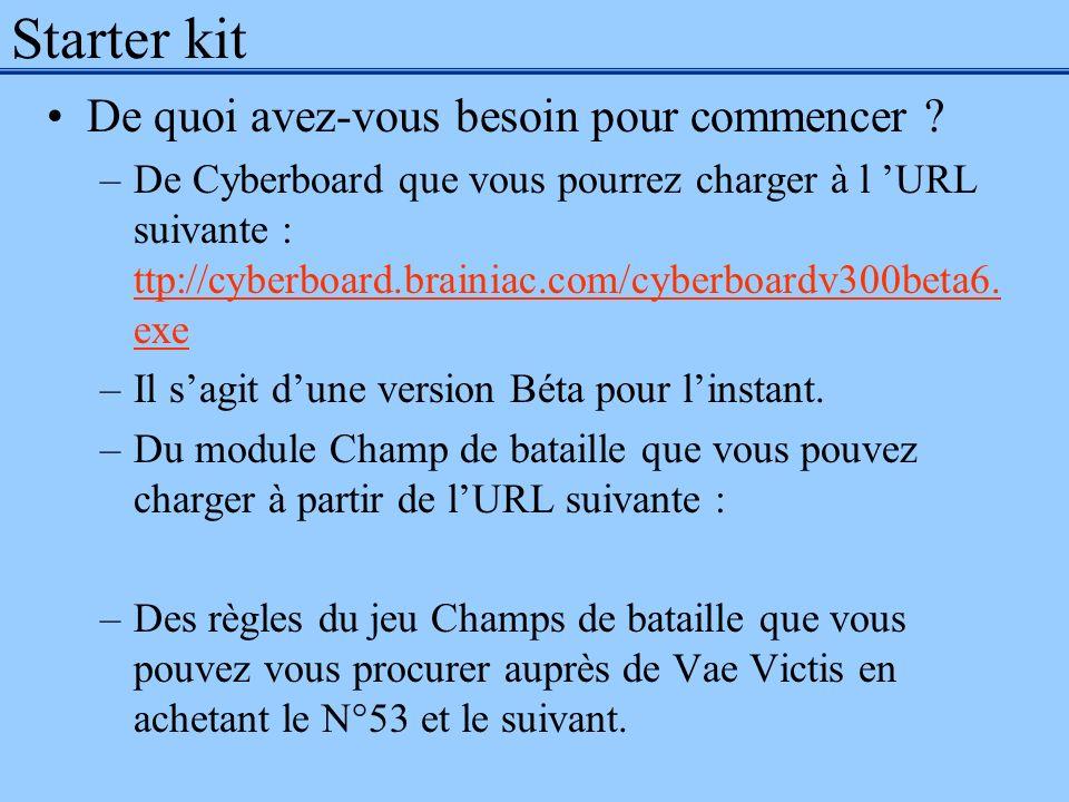 Starter kit De quoi avez-vous besoin pour commencer ? –De Cyberboard que vous pourrez charger à l URL suivante : ttp://cyberboard.brainiac.com/cyberbo