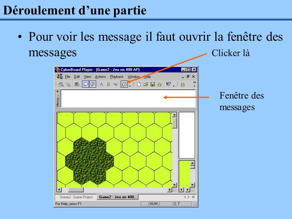 Déroulement dune partie Pour voir les message il faut ouvrir la fenêtre des messages Clicker là Fenêtre des messages