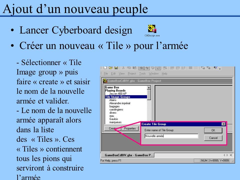Ajout dun nouveau peuple Lancer Cyberboard design Créer un nouveau « Tile » pour larmée - Sélectionner « Tile Image group » puis faire « create » et s