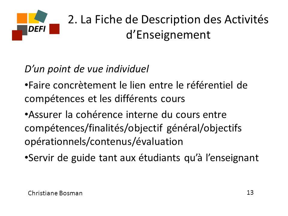 2. La Fiche de Description des Activités dEnseignement Dun point de vue individuel Faire concrètement le lien entre le référentiel de compétences et l
