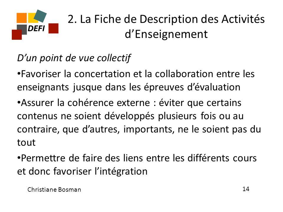 2. La Fiche de Description des Activités dEnseignement Dun point de vue collectif Favoriser la concertation et la collaboration entre les enseignants