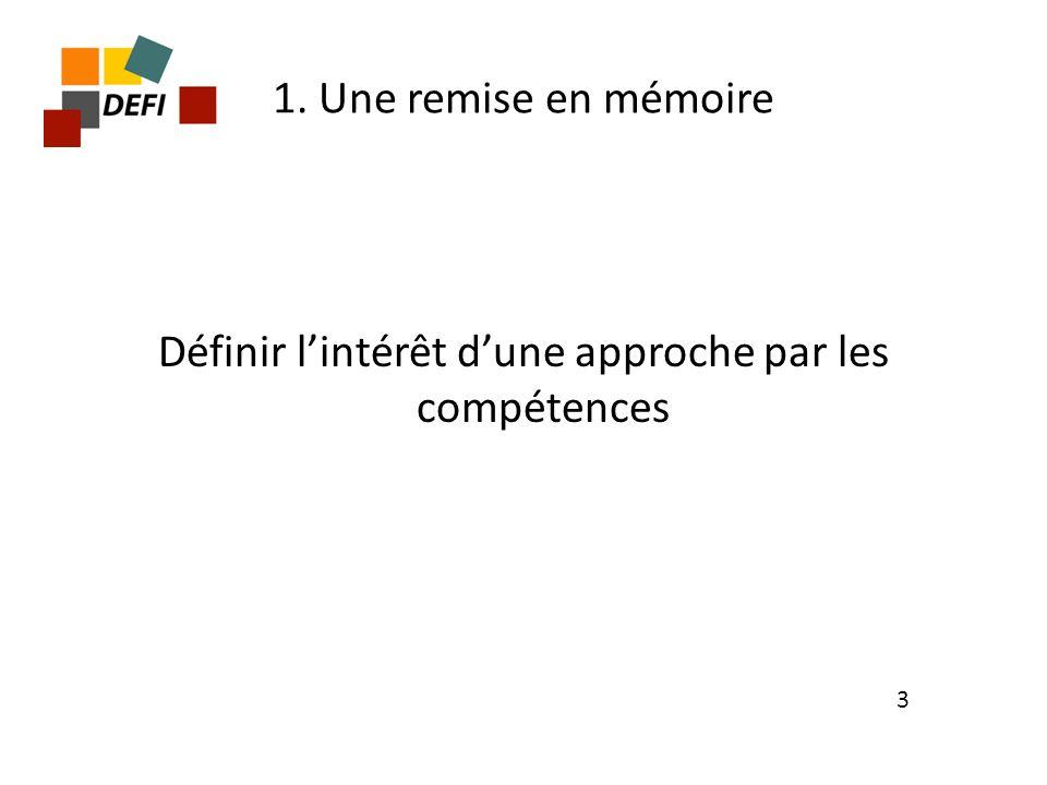 1. Une remise en mémoire Définir lintérêt dune approche par les compétences 3