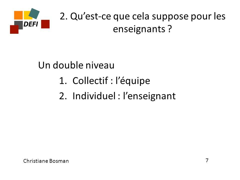 2. Quest-ce que cela suppose pour les enseignants ? Un double niveau 1.Collectif : léquipe 2.Individuel : lenseignant Christiane Bosman 7