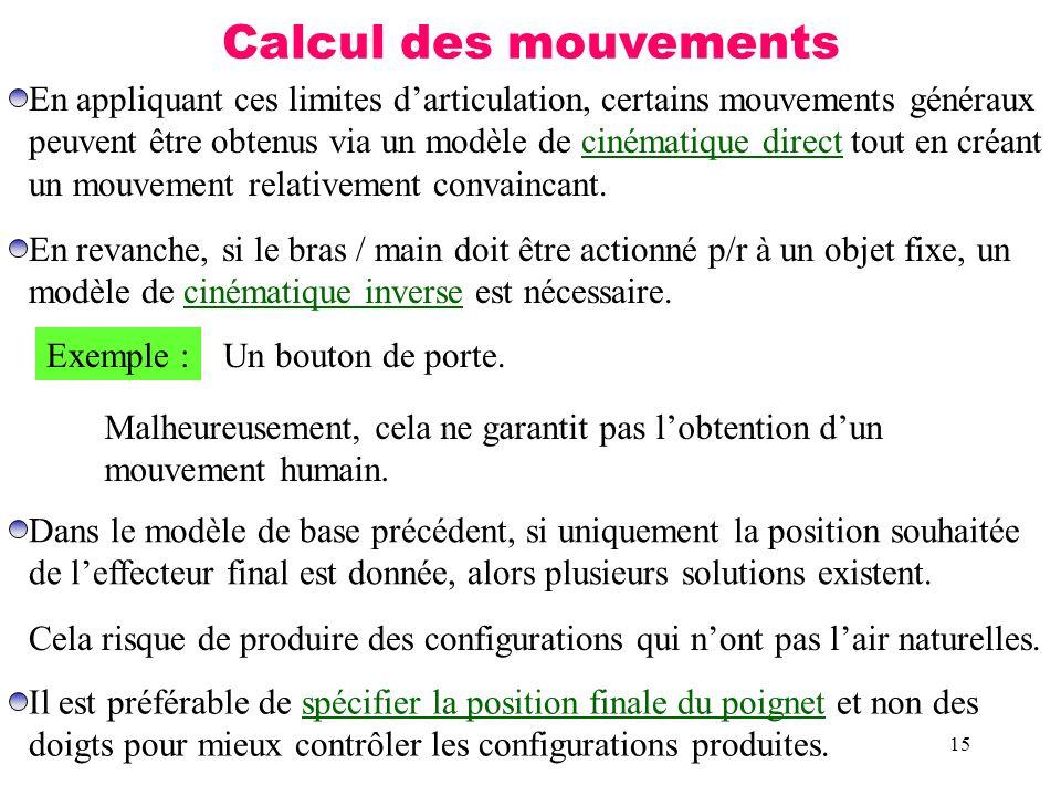 15 Calcul des mouvements En appliquant ces limites darticulation, certains mouvements généraux peuvent être obtenus via un modèle de cinématique direc