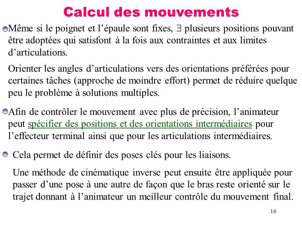 16 Calcul des mouvements Même si le poignet et lépaule sont fixes, plusieurs positions pouvant être adoptées qui satisfont à la fois aux contraintes e