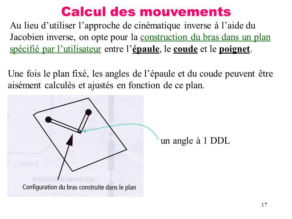 17 Calcul des mouvements Au lieu dutiliser lapproche de cinématique inverse à laide du Jacobien inverse, on opte pour la construction du bras dans un