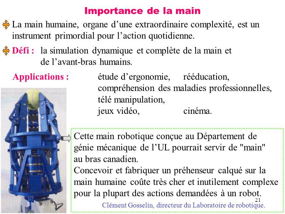 21 Importance de la main La main humaine, organe dune extraordinaire complexité, est un instrument primordial pour laction quotidienne. Défi :la simul