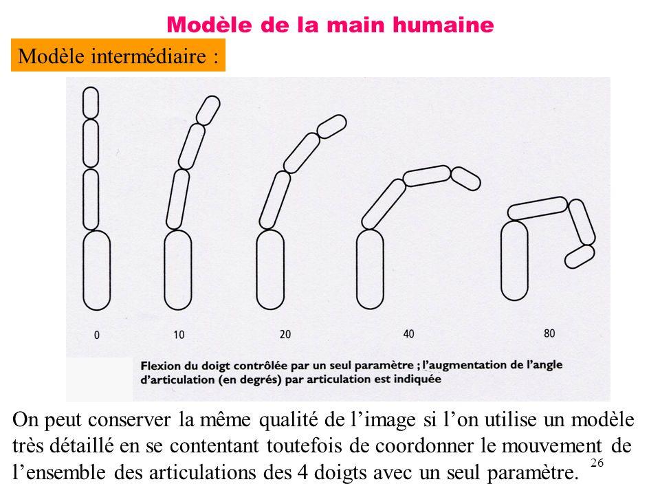 26 Modèle de la main humaine Modèle intermédiaire : On peut conserver la même qualité de limage si lon utilise un modèle très détaillé en se contentan