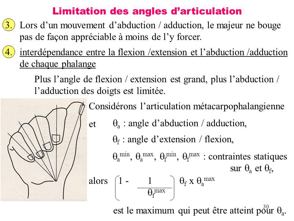 30 Limitation des angles darticulation 3. Lors dun mouvement dabduction / adduction, le majeur ne bouge pas de façon appréciable à moins de ly forcer.