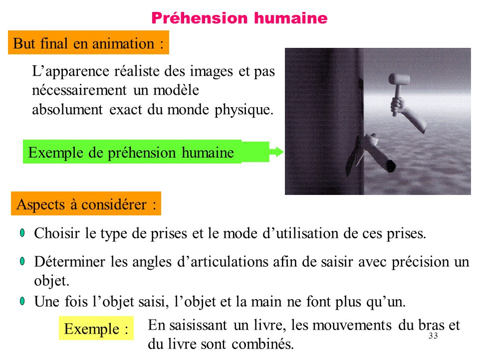 33 Préhension humaine But final en animation : Lapparence réaliste des images et pas nécessairement un modèle absolument exact du monde physique. Exem