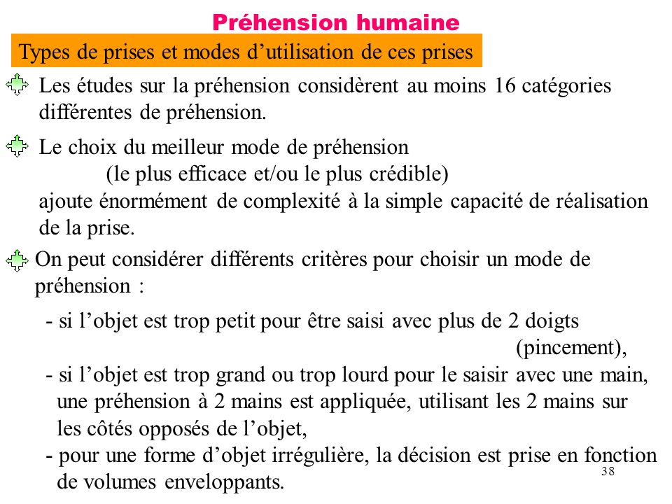 38 Préhension humaine Les études sur la préhension considèrent au moins 16 catégories différentes de préhension. Le choix du meilleur mode de préhensi