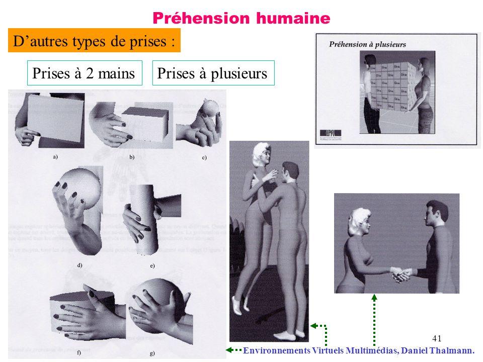 41 Préhension humaine Dautres types de prises : Prises à 2 mainsPrises à plusieurs Environnements Virtuels Multimédias, Daniel Thalmann.