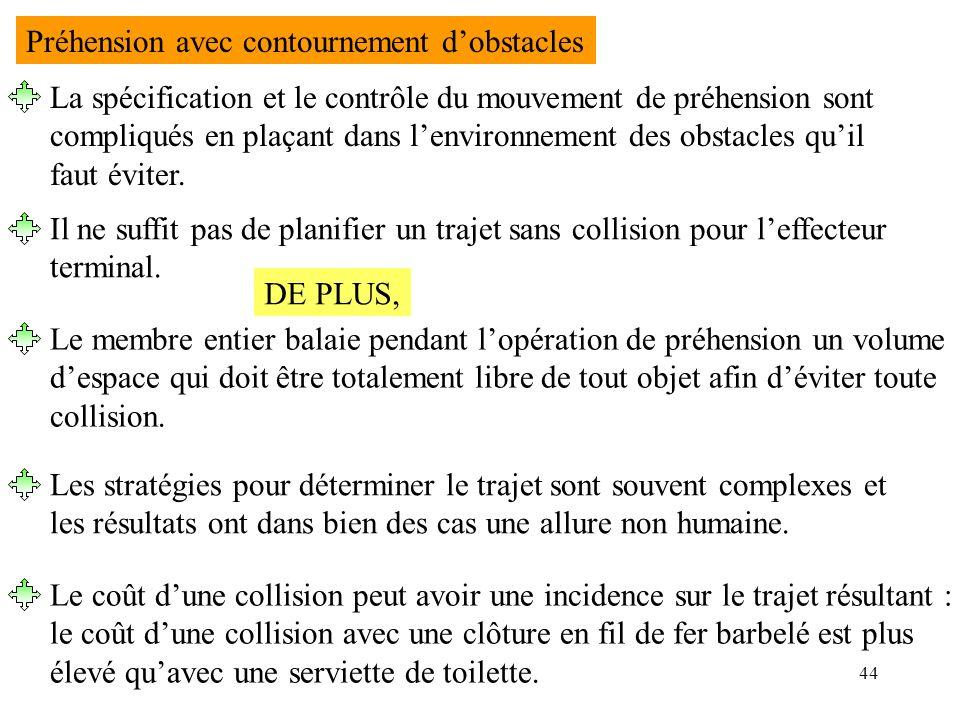 44 Préhension avec contournement dobstacles La spécification et le contrôle du mouvement de préhension sont compliqués en plaçant dans lenvironnement