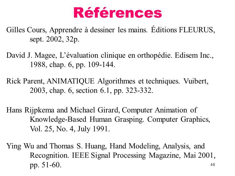 46 Références David J. Magee, Lévaluation clinique en orthopédie. Edisem Inc., 1988, chap. 6, pp. 109-144. Gilles Cours, Apprendre à dessiner les main