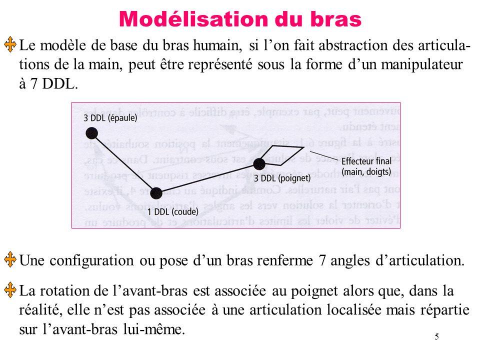 5 Modélisation du bras Le modèle de base du bras humain, si lon fait abstraction des articula- tions de la main, peut être représenté sous la forme du