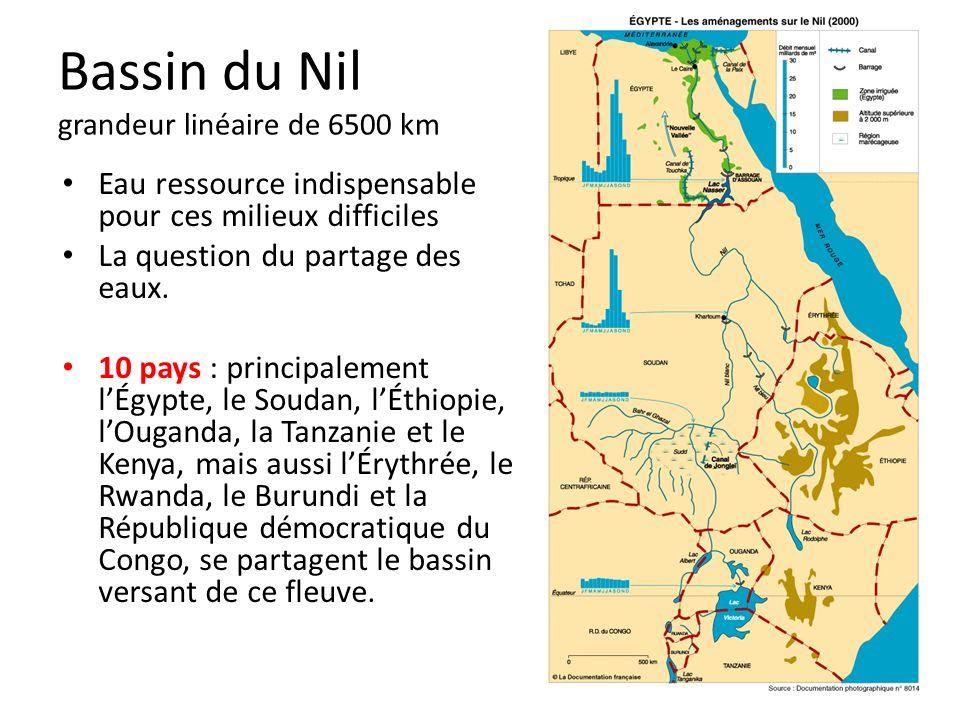 Bassin du Nil grandeur linéaire de 6500 km Eau ressource indispensable pour ces milieux difficiles La question du partage des eaux.