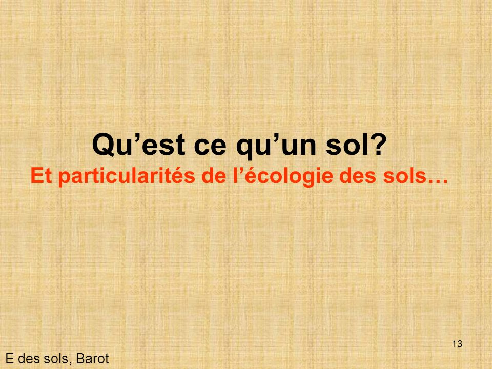 13 Quest ce quun sol? Et particularités de lécologie des sols… E des sols, Barot