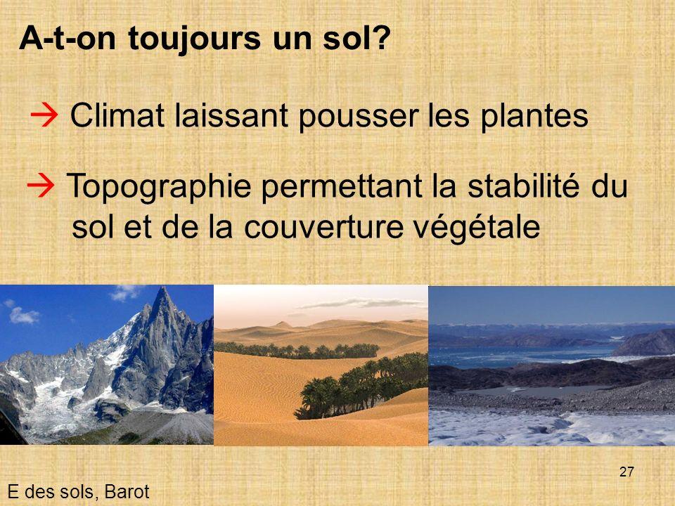 27 A-t-on toujours un sol? Topographie permettant la stabilité du sol et de la couverture végétale E des sols, Barot Climat laissant pousser les plant