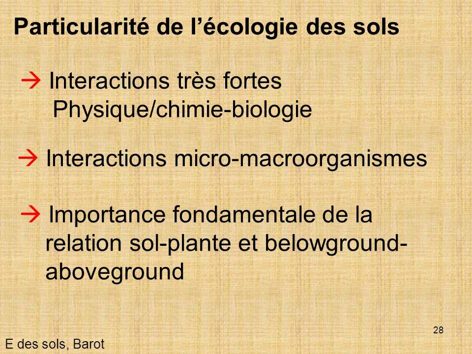 28 Particularité de lécologie des sols Interactions micro-macroorganismes E des sols, Barot Interactions très fortes Physique/chimie-biologie Importan