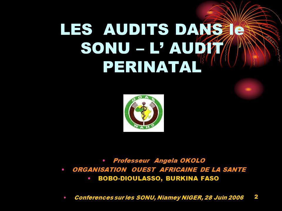 2 LES AUDITS DANS le SONU – L AUDIT PERINATAL Professeur Angela OKOLO ORGANISATION OUEST AFRICAINE DE LA SANTE BOBO-DIOULASSO, BURKINA FASO Conferences sur les SONU, Niamey NIGER, 28 Juin 2006