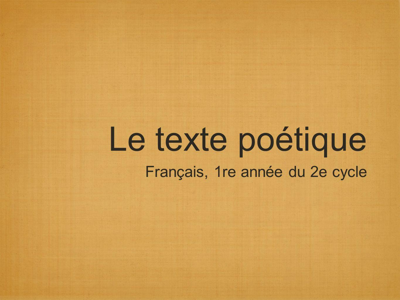 Le texte poétique Français, 1re année du 2e cycle