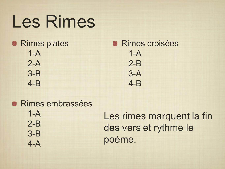 Les Rimes Rimes plates 1-A 2-A 3-B 4-B Rimes embrassées 1-A 2-B 3-B 4-A Rimes croisées 1-A 2-B 3-A 4-B Les rimes marquent la fin des vers et rythme le
