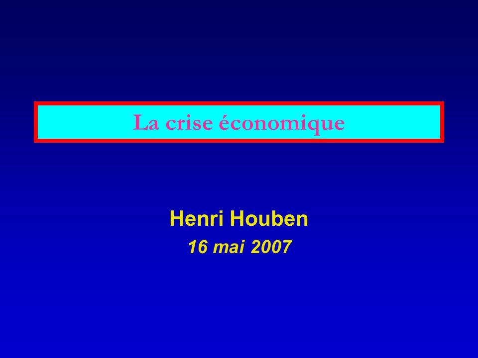 La crise économique La comptabilité nationale ne permet danalyser les crises économiques.