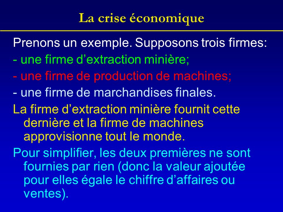 La crise économique Prenons un exemple. Supposons trois firmes: - une firme dextraction minière; - une firme de production de machines; - une firme de