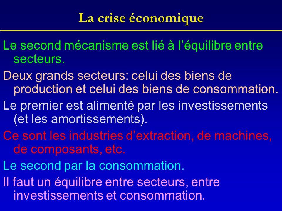 La crise économique Le second mécanisme est lié à léquilibre entre secteurs. Deux grands secteurs: celui des biens de production et celui des biens de
