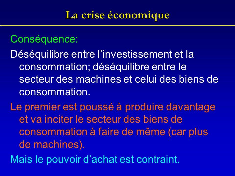 La crise économique Conséquence: Déséquilibre entre linvestissement et la consommation; déséquilibre entre le secteur des machines et celui des biens