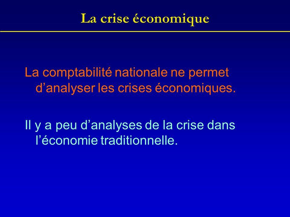 La crise économique La comptabilité nationale ne permet danalyser les crises économiques. Il y a peu danalyses de la crise dans léconomie traditionnel
