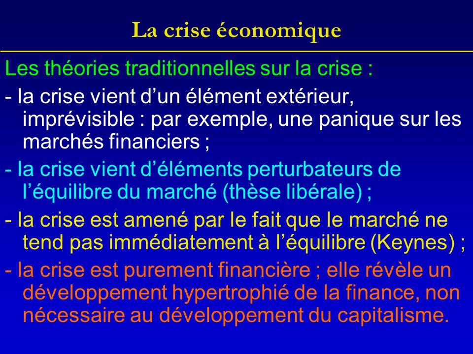 La crise économique Les théories traditionnelles sur la crise : - la crise vient dun élément extérieur, imprévisible : par exemple, une panique sur le