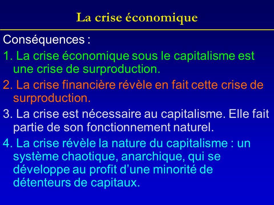 La crise économique Conséquences : 1. La crise économique sous le capitalisme est une crise de surproduction. 2. La crise financière révèle en fait ce