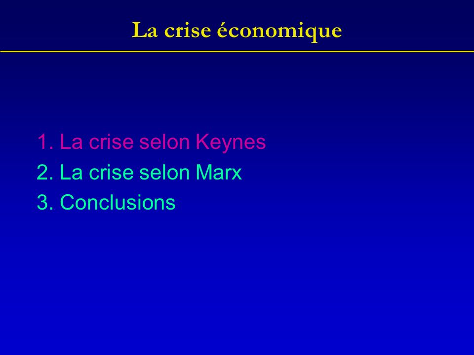 La crise économique Keynes part de la situation du chômage dans les années 20 et 30.