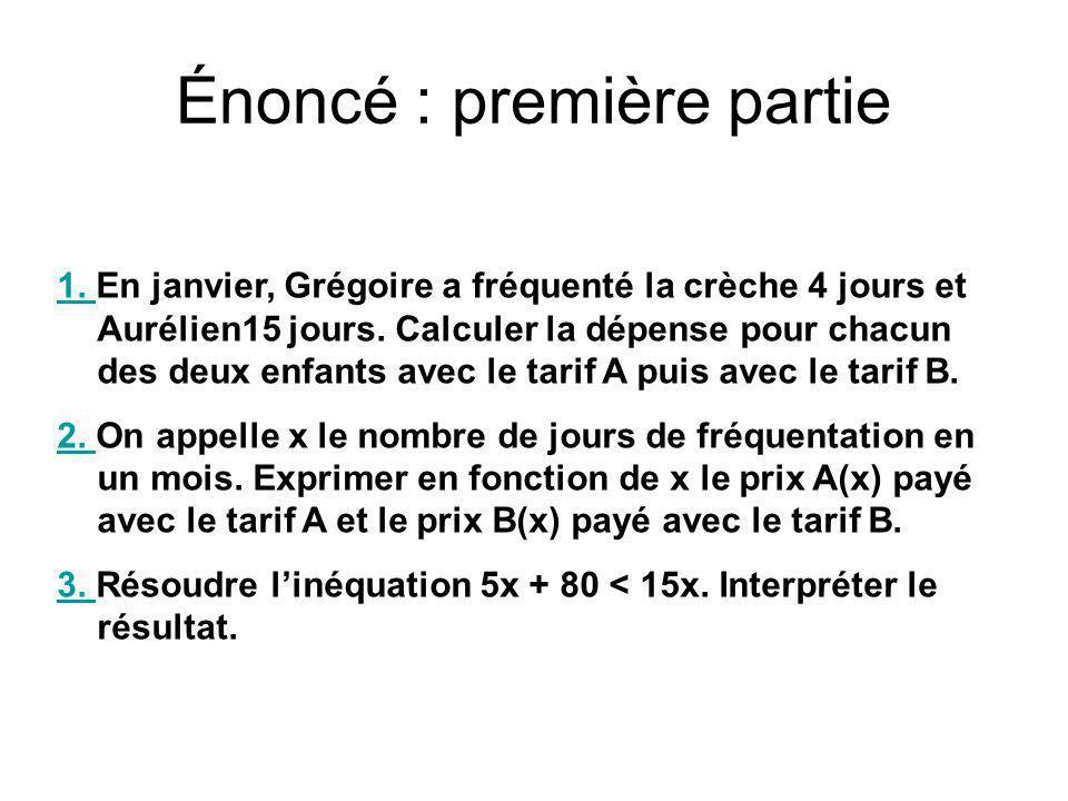 Énoncé : première partie 1. 1. En janvier, Grégoire a fréquenté la crèche 4 jours et Aurélien15 jours. Calculer la dépense pour chacun des deux enfant