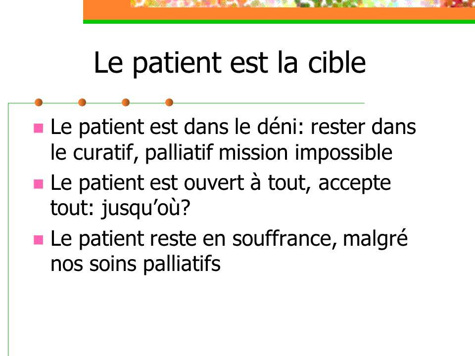 Le patient est la cible Le patient est dans le déni: rester dans le curatif, palliatif mission impossible Le patient est ouvert à tout, accepte tout: jusquoù.