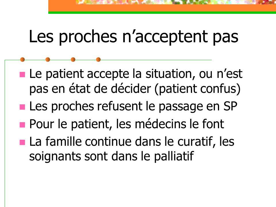 Les proches nacceptent pas Le patient accepte la situation, ou nest pas en état de décider (patient confus) Les proches refusent le passage en SP Pour le patient, les médecins le font La famille continue dans le curatif, les soignants sont dans le palliatif