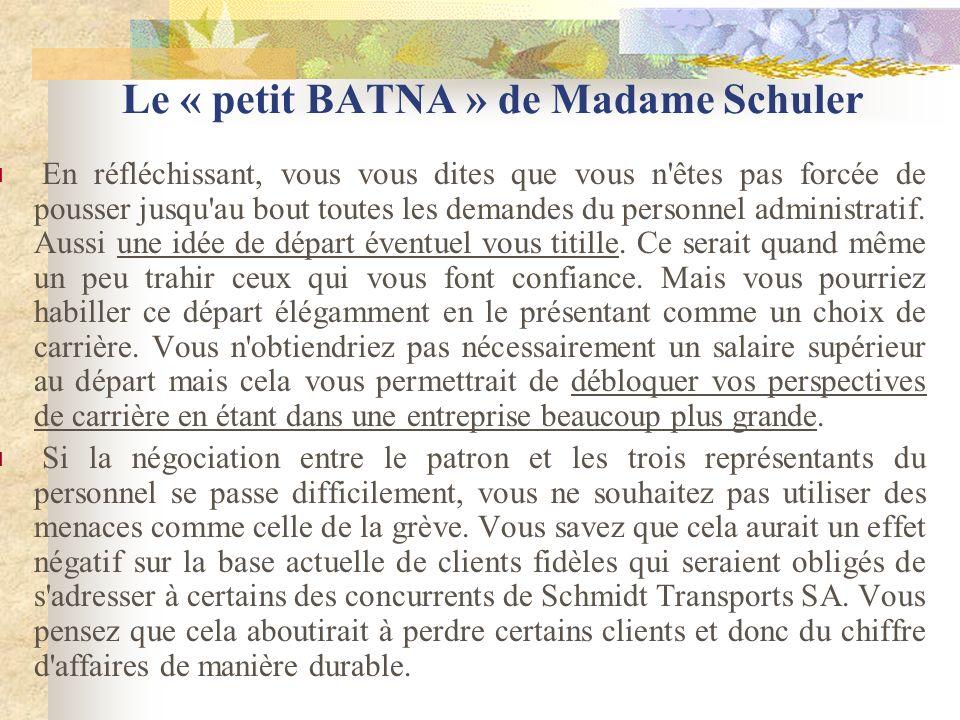 Le « petit BATNA » de Madame Schuler En réfléchissant, vous vous dites que vous n êtes pas forcée de pousser jusqu au bout toutes les demandes du personnel administratif.