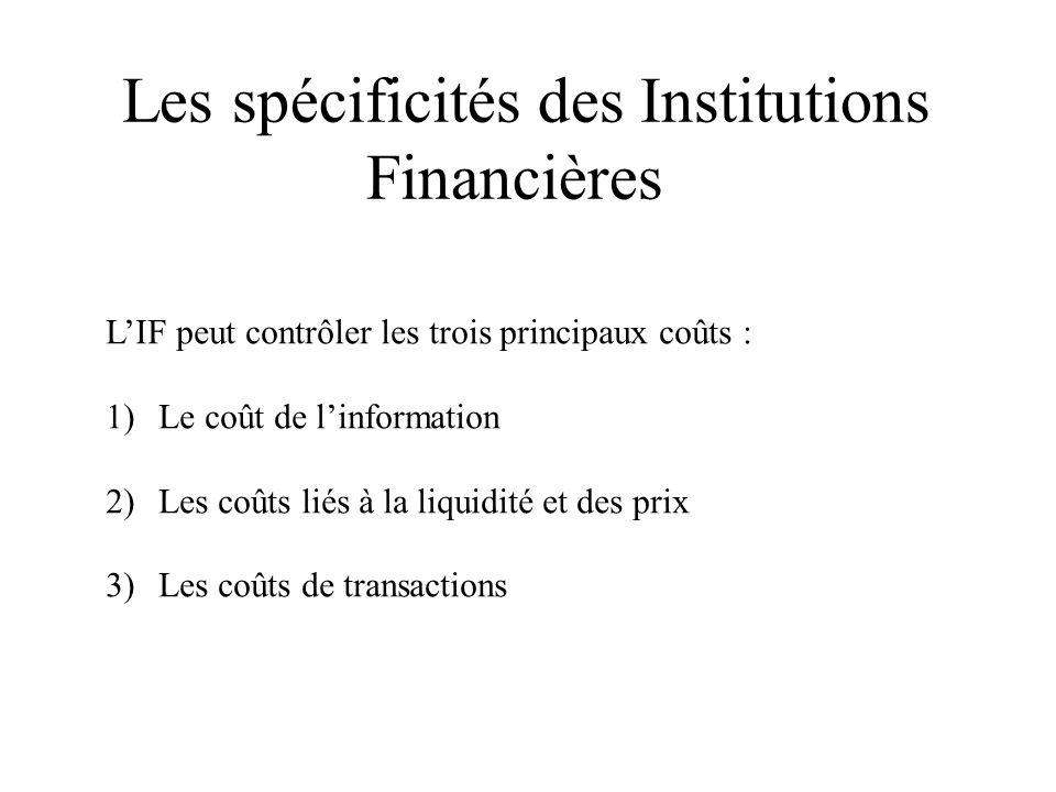 Les spécificités des Institutions Financières LIF peut contrôler les trois principaux coûts : 1)Le coût de linformation 2)Les coûts liés à la liquidité et des prix 3)Les coûts de transactions