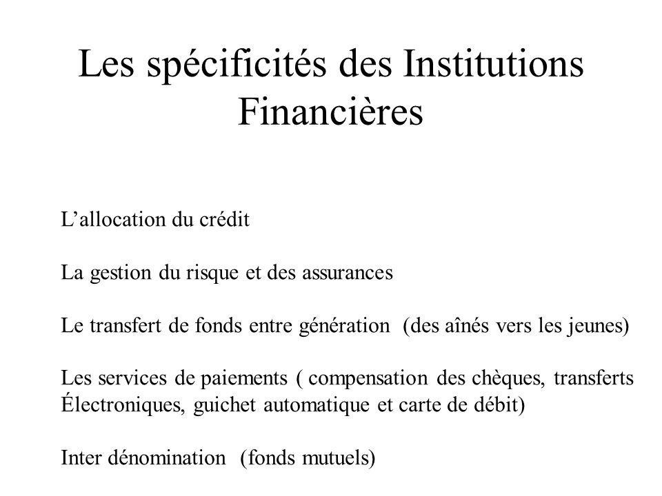 Les spécificités des Institutions Financières Lallocation du crédit La gestion du risque et des assurances Le transfert de fonds entre génération (des