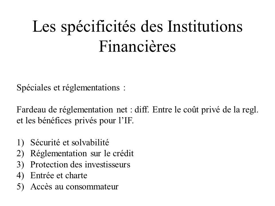 Les spécificités des Institutions Financières Spéciales et réglementations : Fardeau de réglementation net : diff. Entre le coût privé de la regl. et
