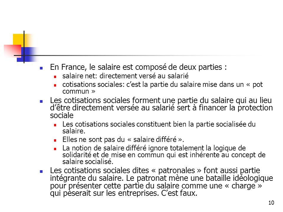 10 En France, le salaire est composé de deux parties : salaire net: directement versé au salarié cotisations sociales: cest la partie du salaire mise