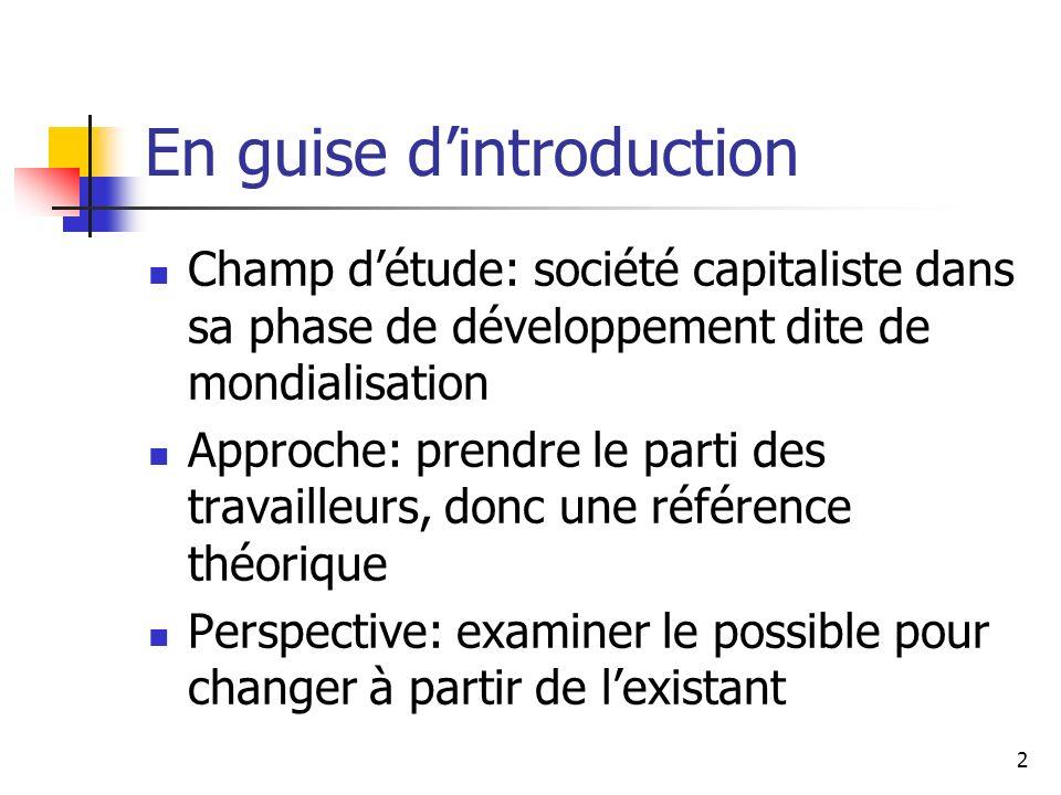 2 En guise dintroduction Champ détude: société capitaliste dans sa phase de développement dite de mondialisation Approche: prendre le parti des travai