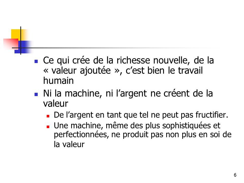 7 Les machines, équipements et matières transmettent leur valeur au prorata de leur participation à la production La force de travail ne transmet pas seulement sa valeur, elle produit aussi une « valeur ajoutée ».