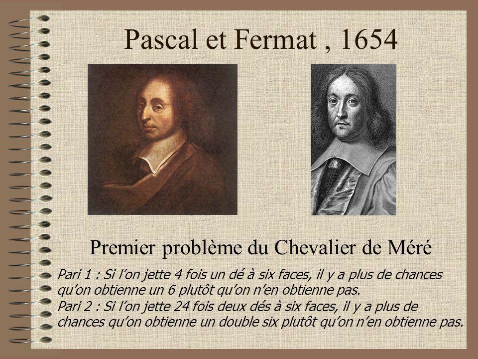 Pascal et Fermat, 1654 Premier problème du Chevalier de Méré Pari 1 : Si lon jette 4 fois un dé à six faces, il y a plus de chances quon obtienne un 6