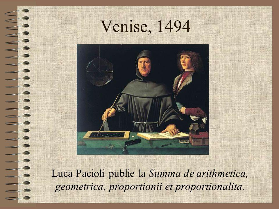 Venise, 1494 Luca Pacioli publie la Summa de arithmetica, geometrica, proportionii et proportionalita.