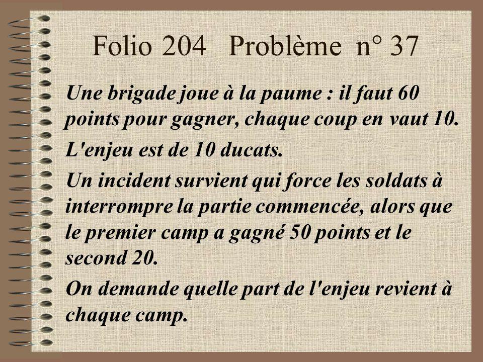 Folio 204 Problème n° 37 Une brigade joue à la paume : il faut 60 points pour gagner, chaque coup en vaut 10. L'enjeu est de 10 ducats. Un incident su