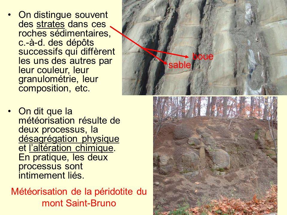 La désagrégation physique On appelle désagrégation physique le fait de détacher un grain minéral dune roche sans lattaquer chimiquement.